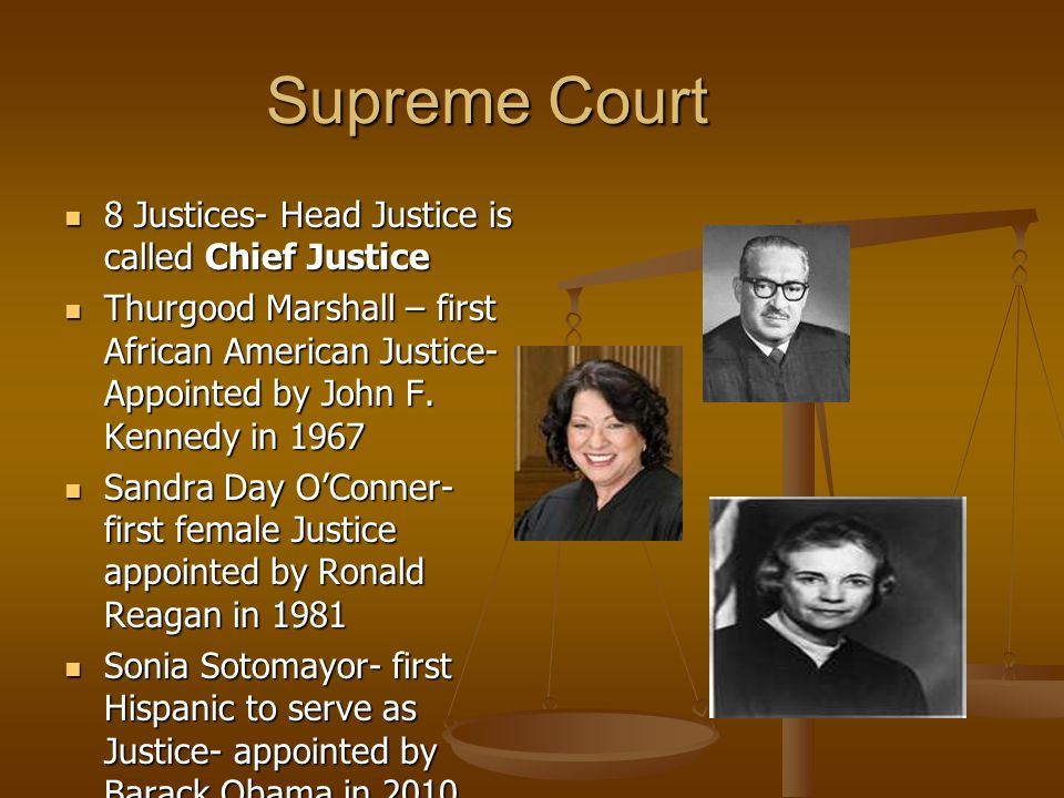 Supreme Court 8 Justices- Head Justice is called Chief Justice