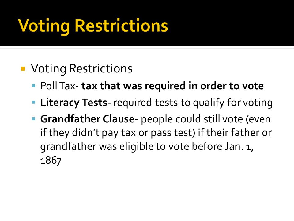 Voting Restrictions Voting Restrictions