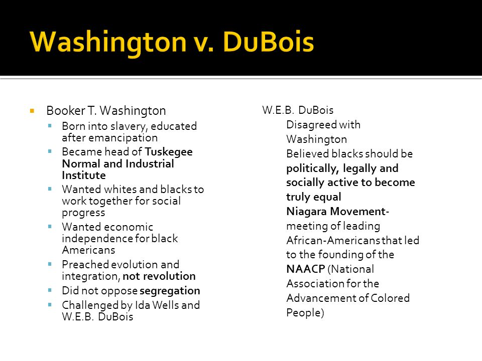 Washington v. DuBois Booker T. Washington W.E.B. DuBois