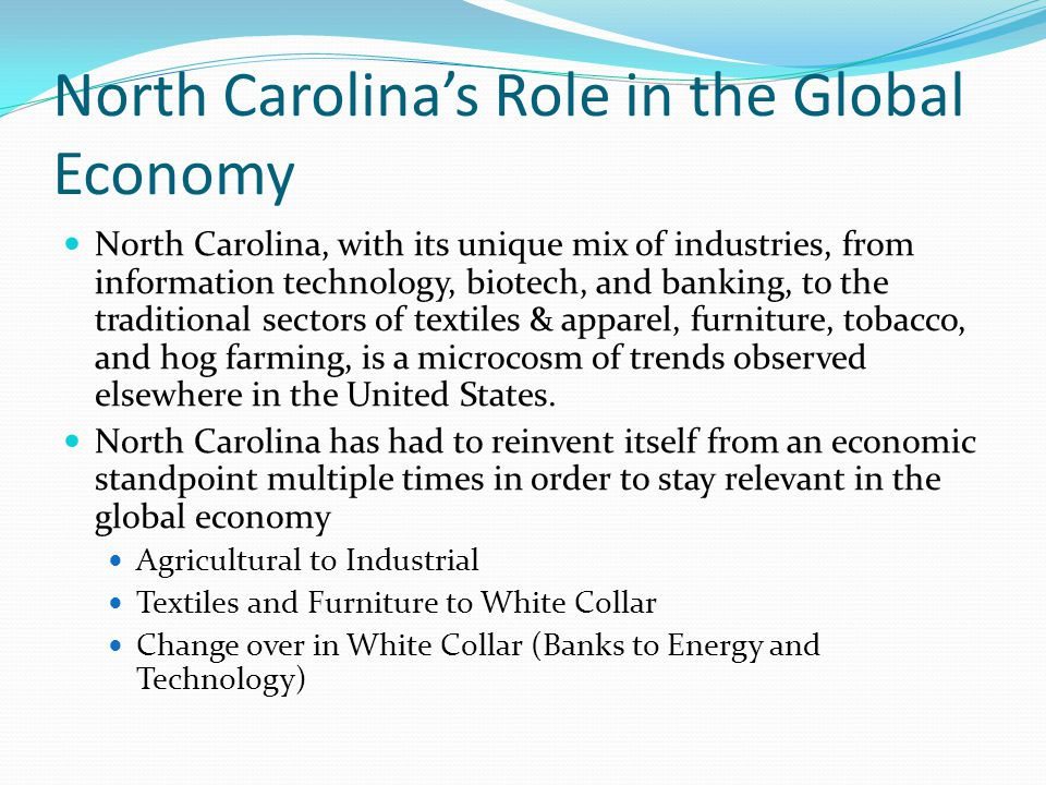 North Carolina's Role in the Global Economy