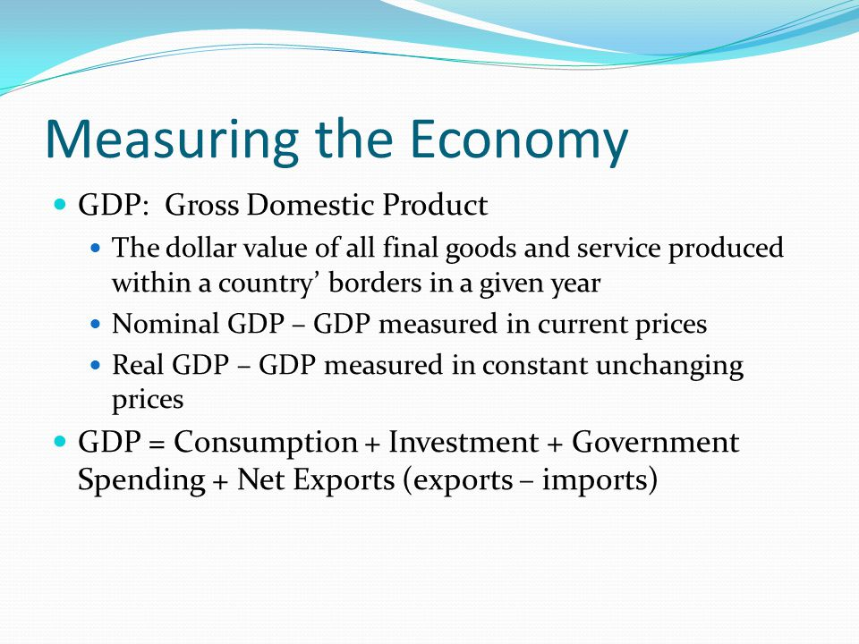 Measuring the Economy GDP: Gross Domestic Product