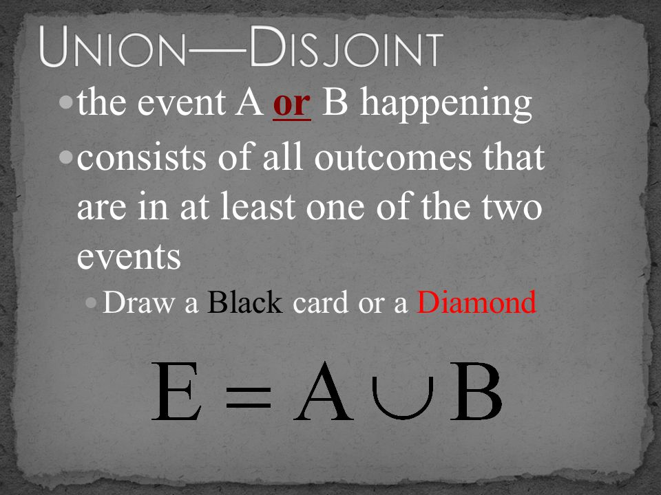 Union—Disjoint the event A or B happening