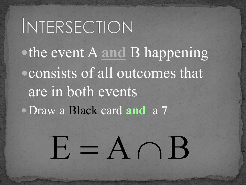 Intersection the event A and B happening