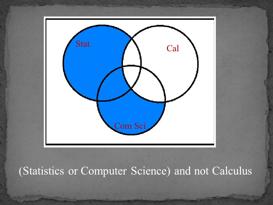 (Statistics or Computer Science) and not Calculus