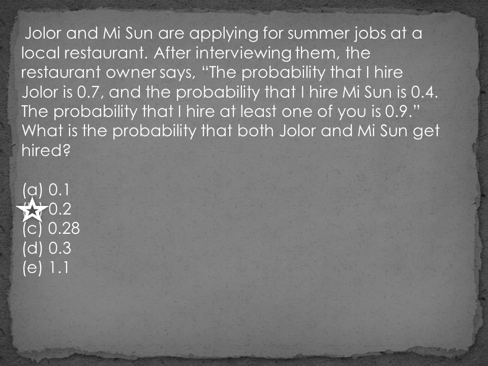 Jolor and Mi Sun are applying for summer jobs at a local restaurant