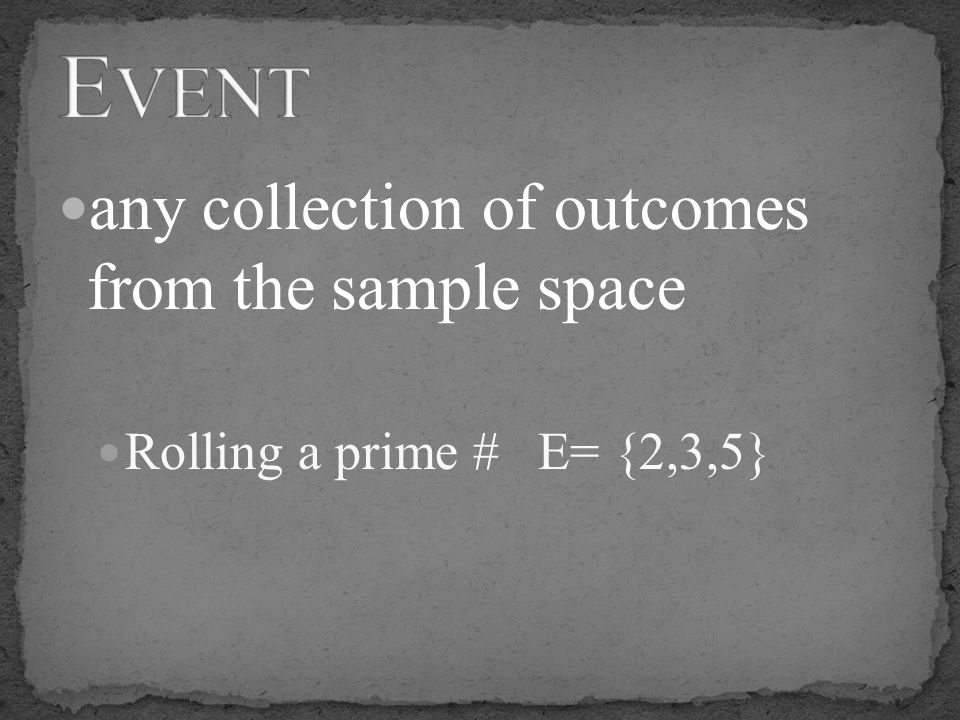 Event any collection of outcomes from the sample space