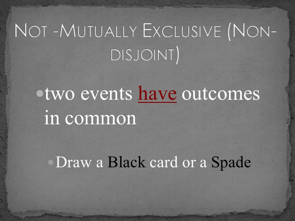 Not -Mutually Exclusive (Non- disjoint)