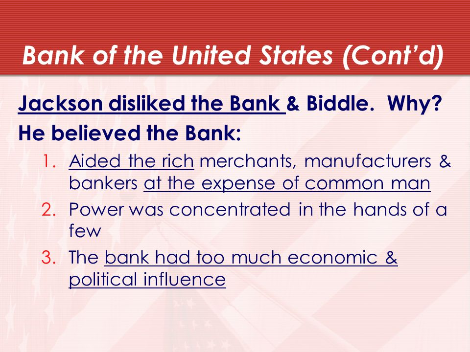Bank of the United States (Cont'd)