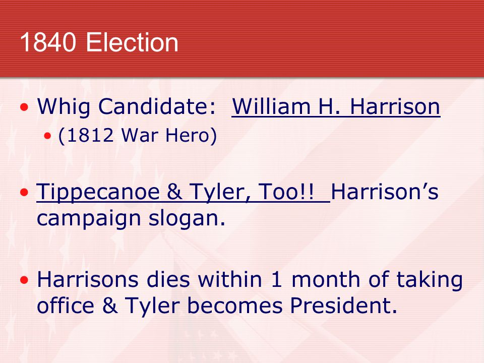 1840 Election Whig Candidate: William H. Harrison