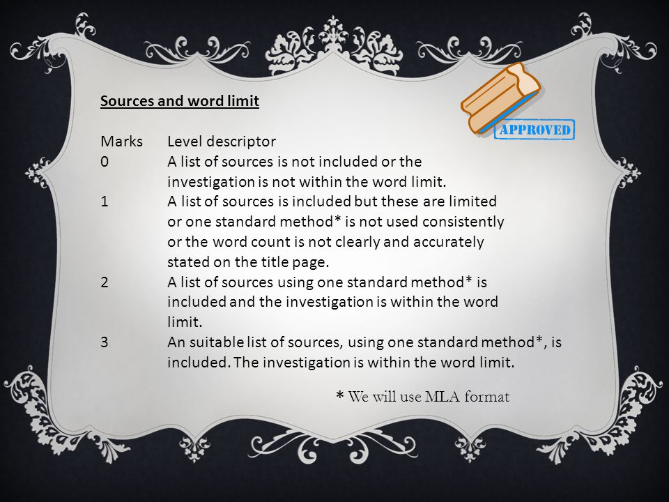 Sources and word limit