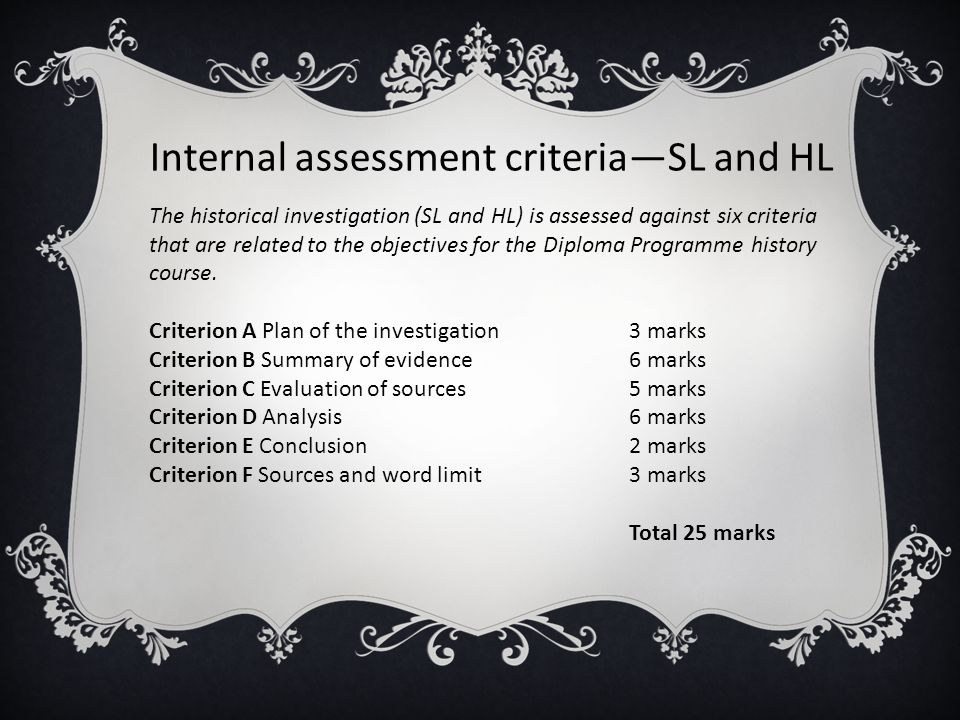 Internal assessment criteria—SL and HL