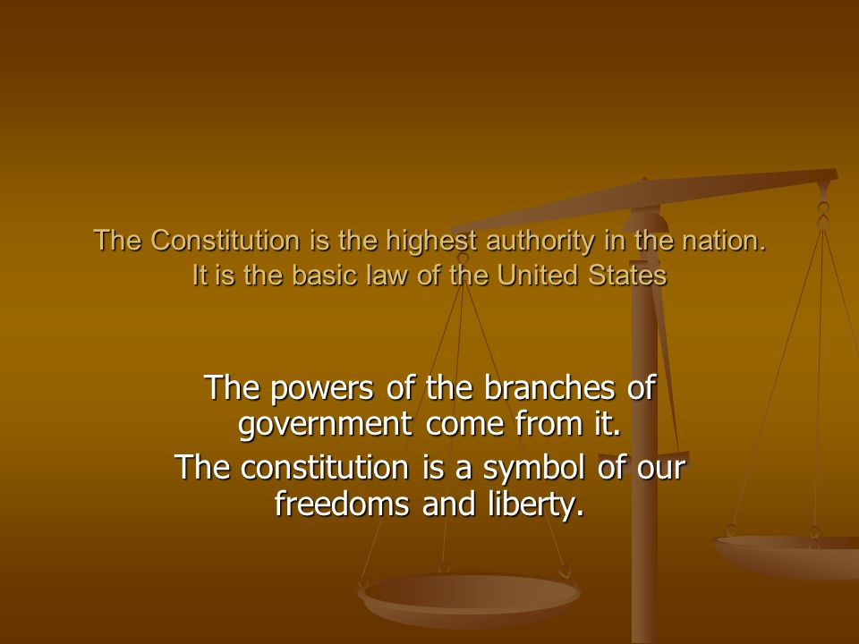 The powers of the branches of government come from it.