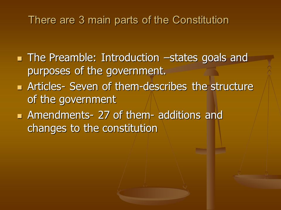 There are 3 main parts of the Constitution