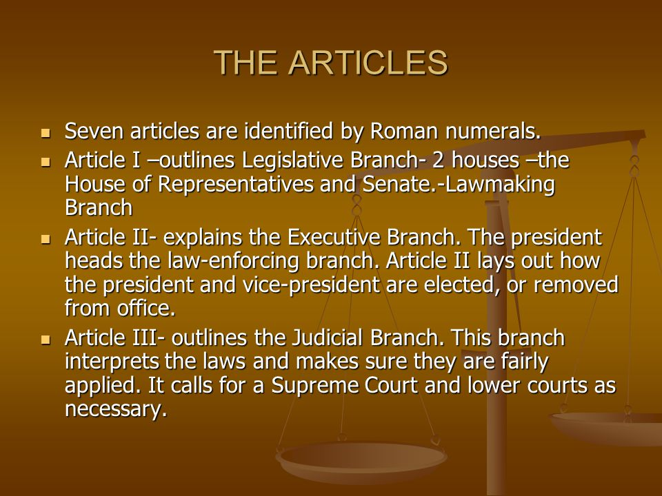 THE ARTICLES Seven articles are identified by Roman numerals.