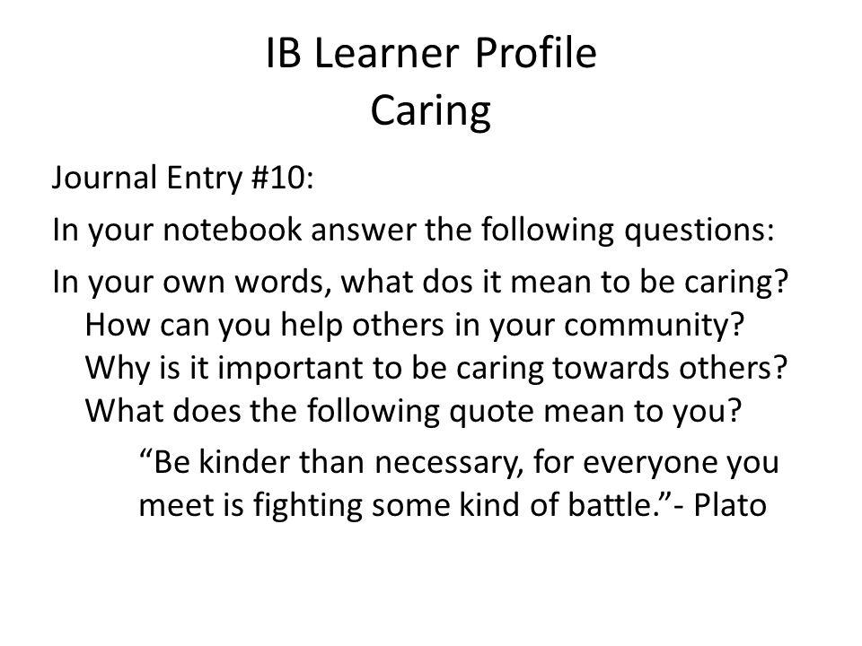 IB Learner Profile Caring