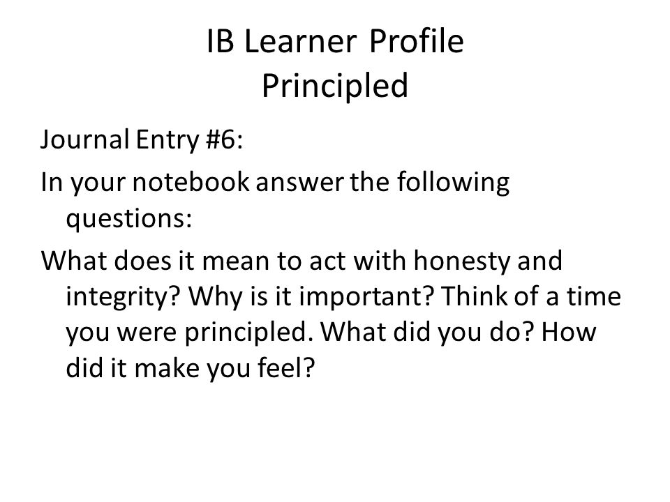 IB Learner Profile Principled