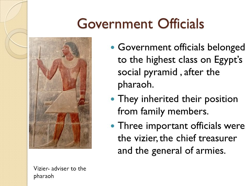 Government Officials Government officials belonged to the highest class on Egypt's social pyramid , after the pharaoh.