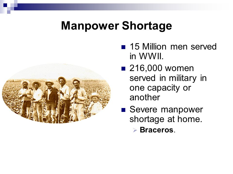 Manpower Shortage 15 Million men served in WWII.