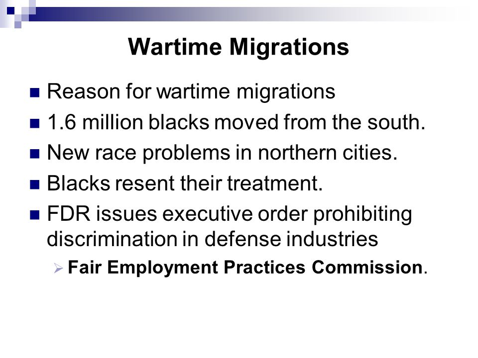 Wartime Migrations Reason for wartime migrations