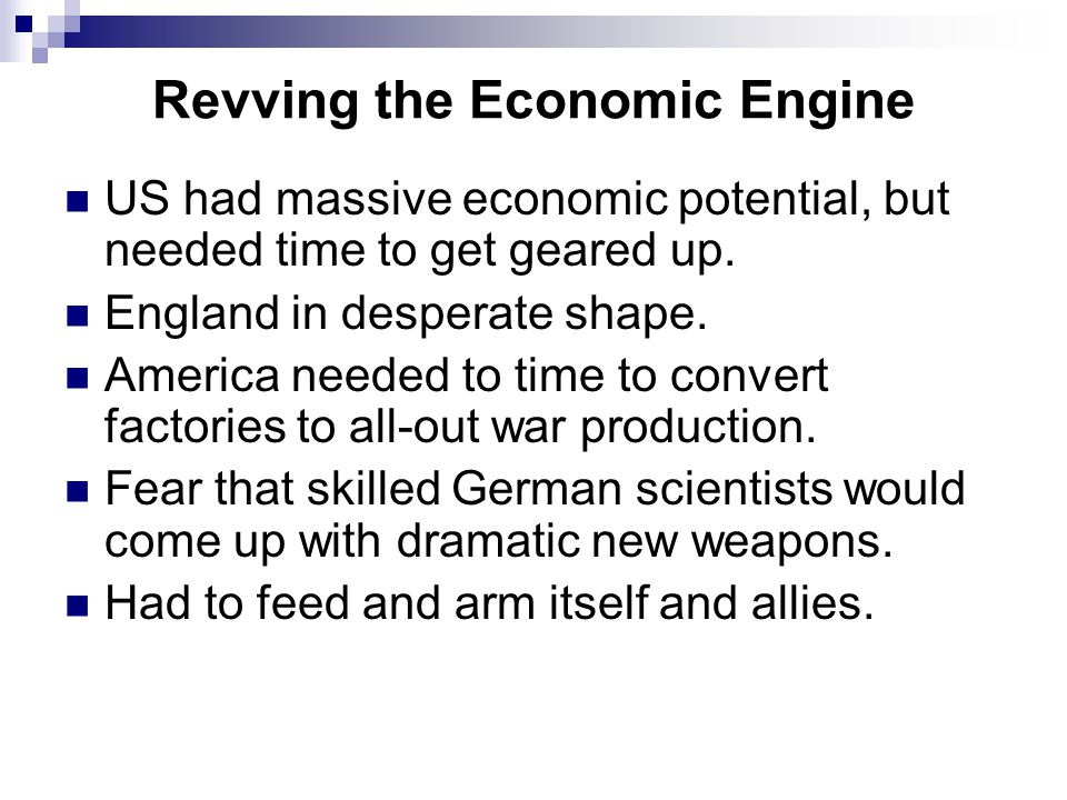 Revving the Economic Engine