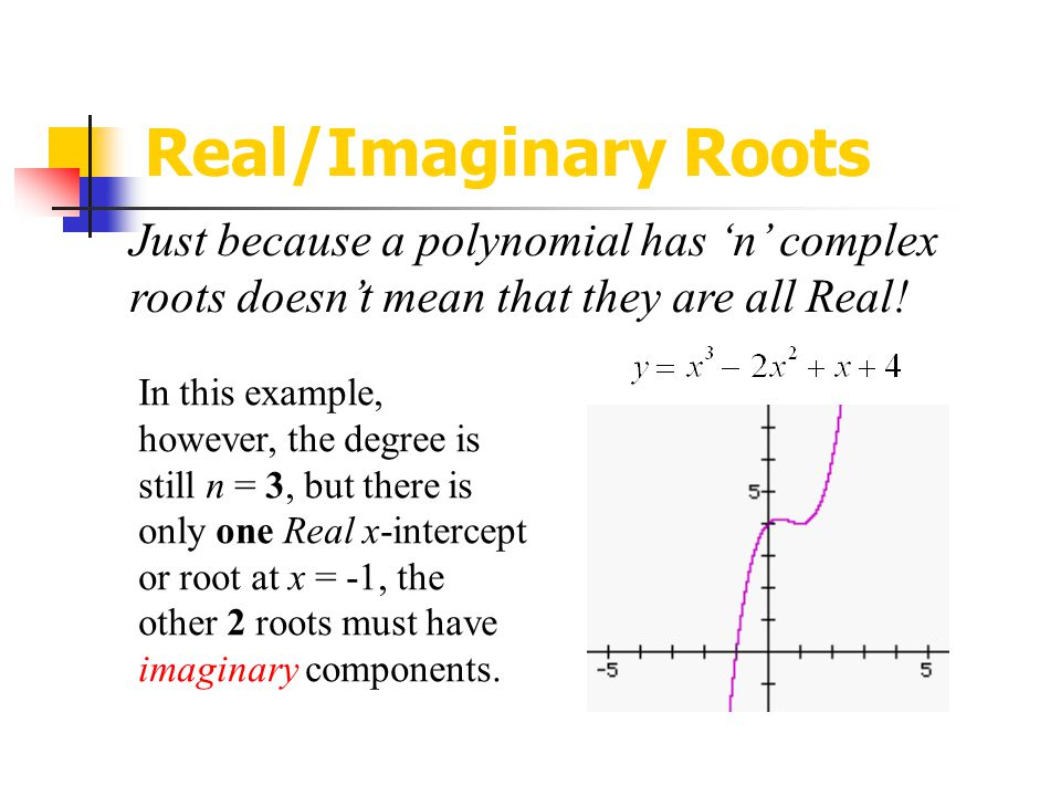Real/Imaginary Roots Just because a polynomial has 'n' complex roots doesn't mean that they are all Real!