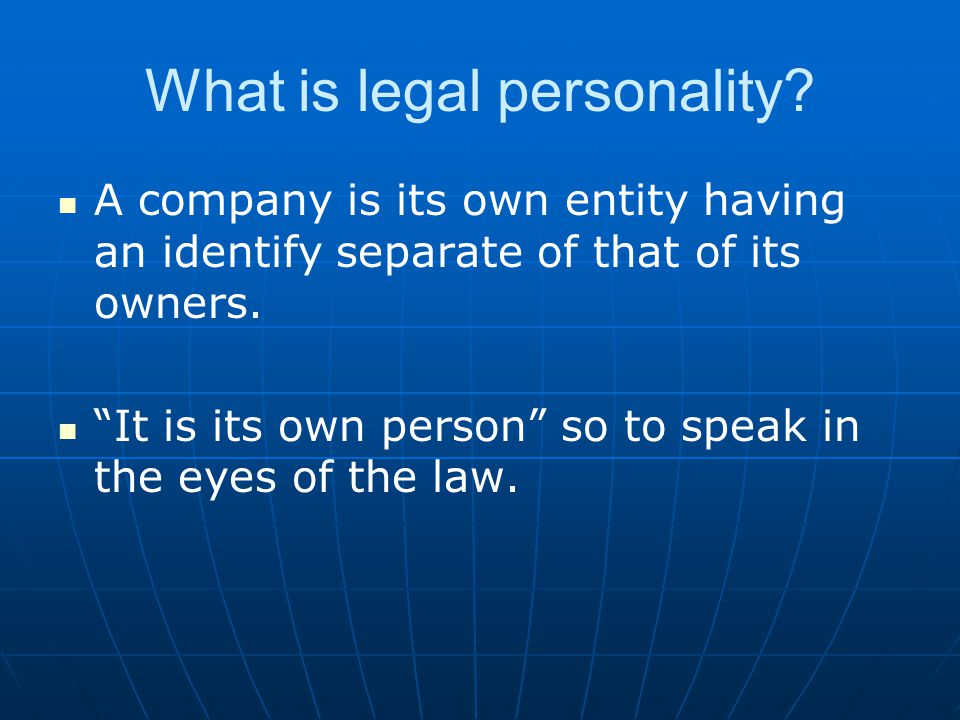 What is legal personality