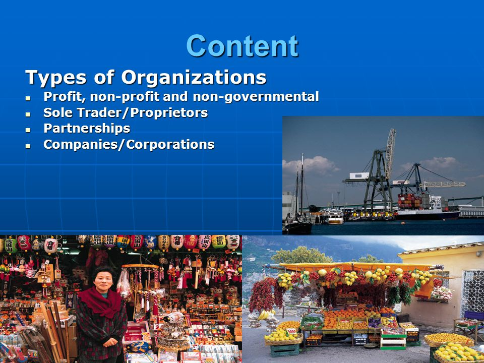 Content Types of Organizations Profit, non-profit and non-governmental