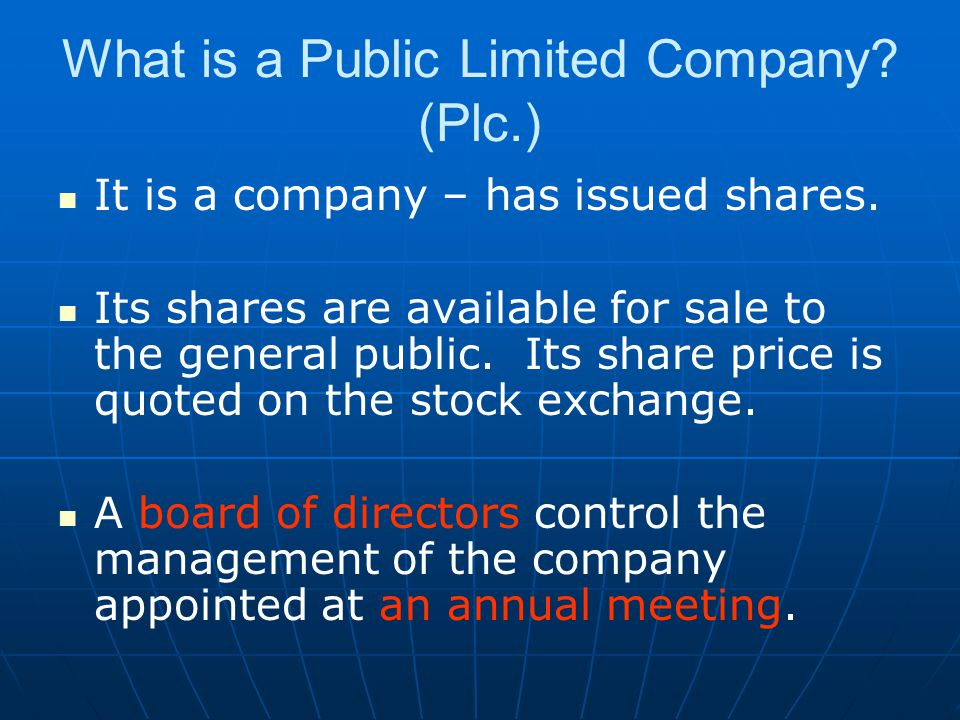 What is a Public Limited Company (Plc.)