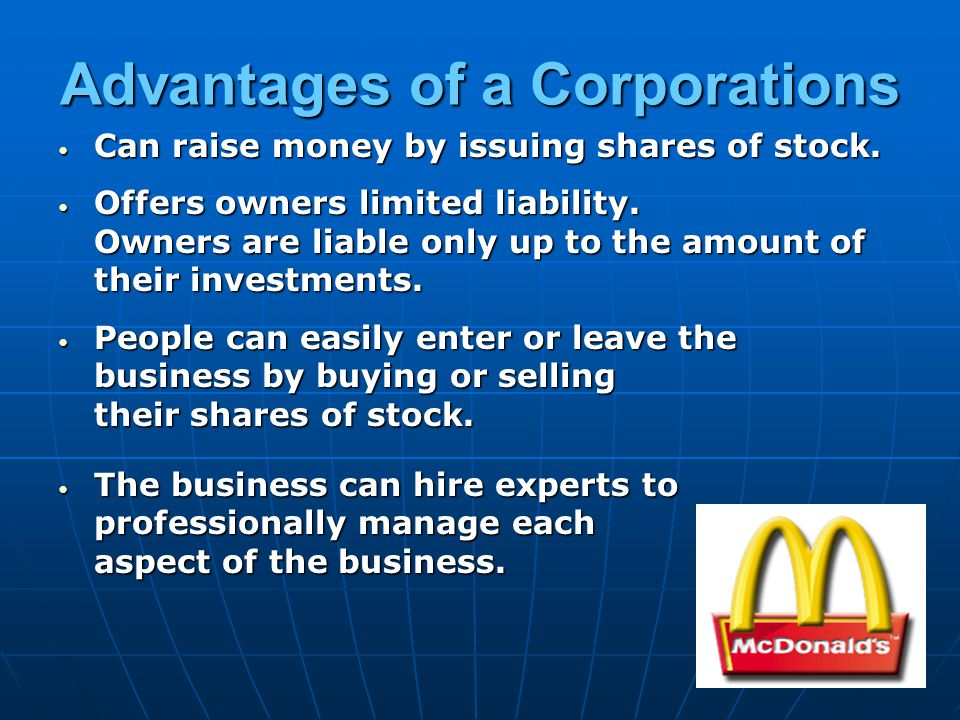 Advantages of a Corporations