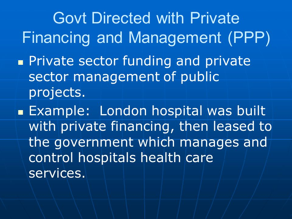 Govt Directed with Private Financing and Management (PPP)