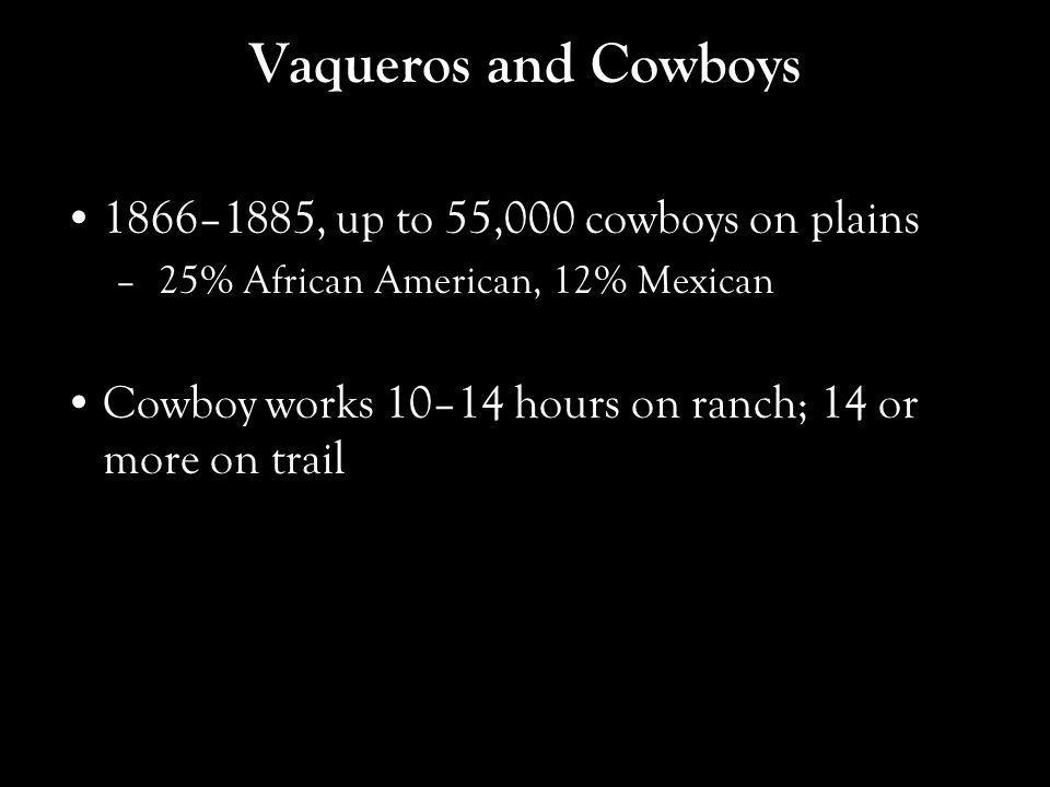 Vaqueros and Cowboys 1866–1885, up to 55,000 cowboys on plains