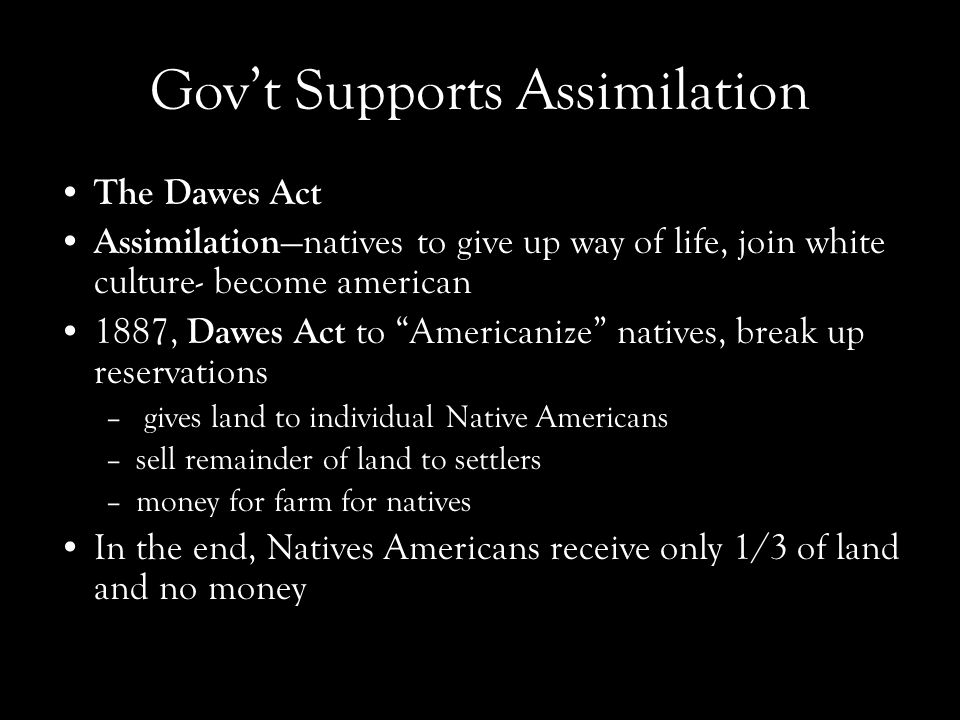 Gov't Supports Assimilation