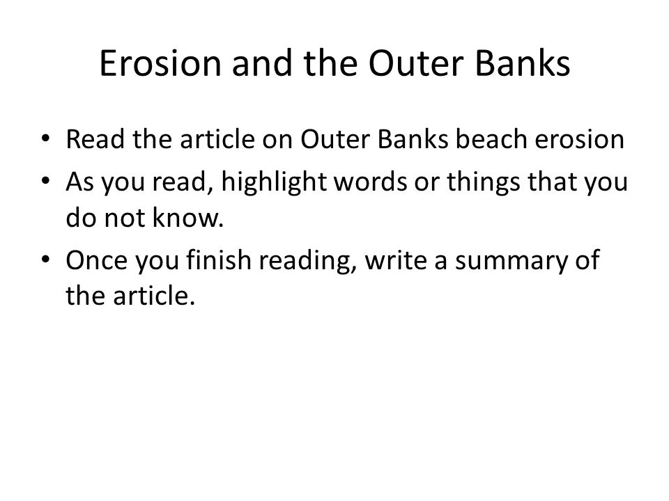Erosion and the Outer Banks