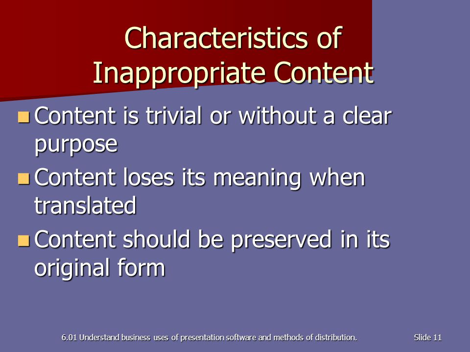 Characteristics of Inappropriate Content