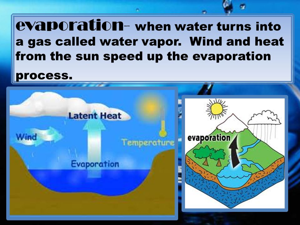 evaporation- when water turns into a gas called water vapor