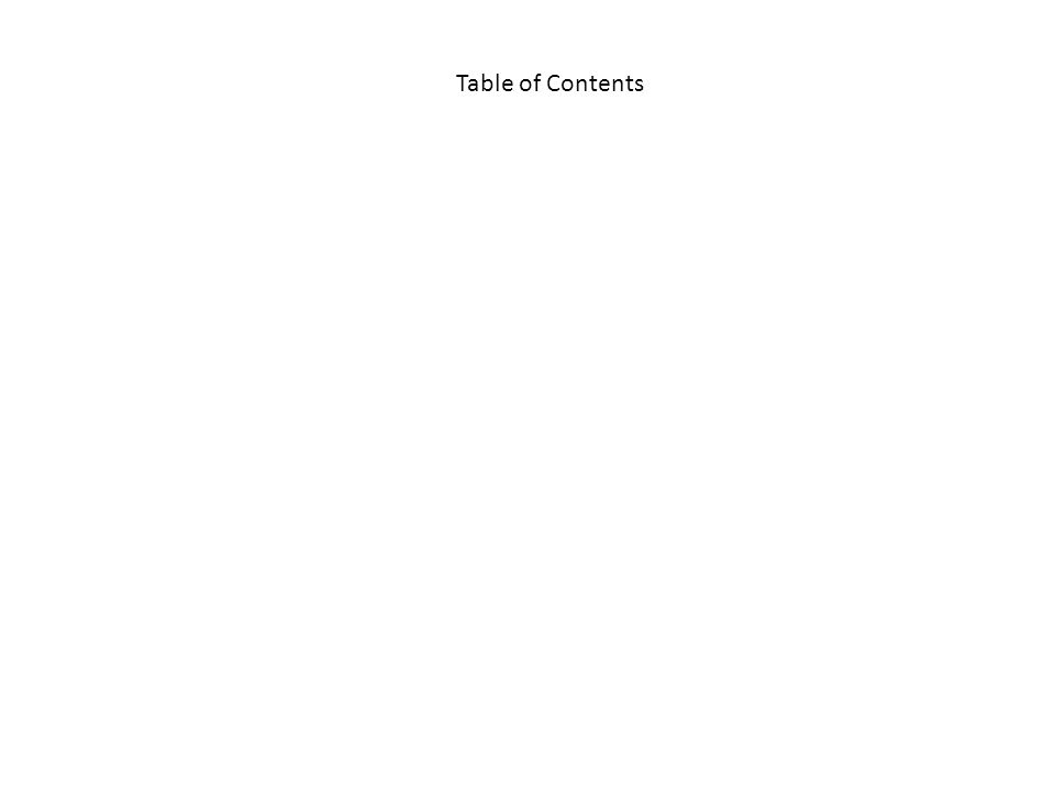 Table of Contents Table of Contents