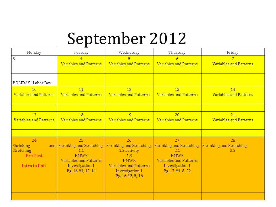 September 2012 Monday Tuesday Wednesday Thursday Friday 3
