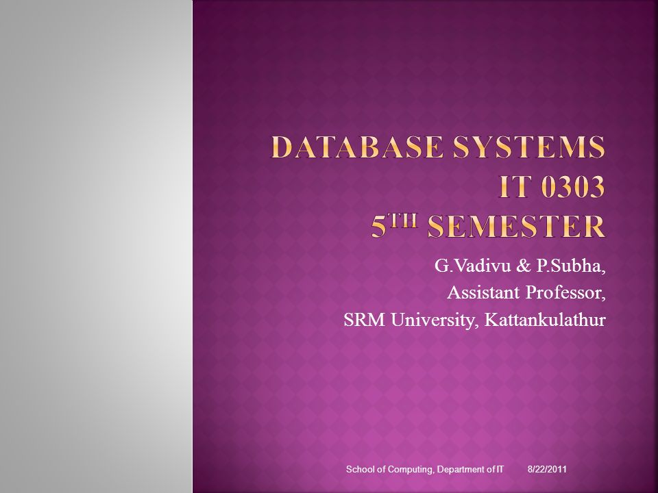 DATABASE SYSTEMS IT 0303 5TH Semester