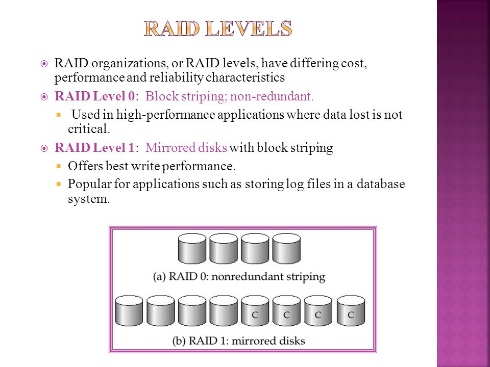 RAID LevelsRAID organizations, or RAID levels, have differing cost, performance and reliability characteristics.