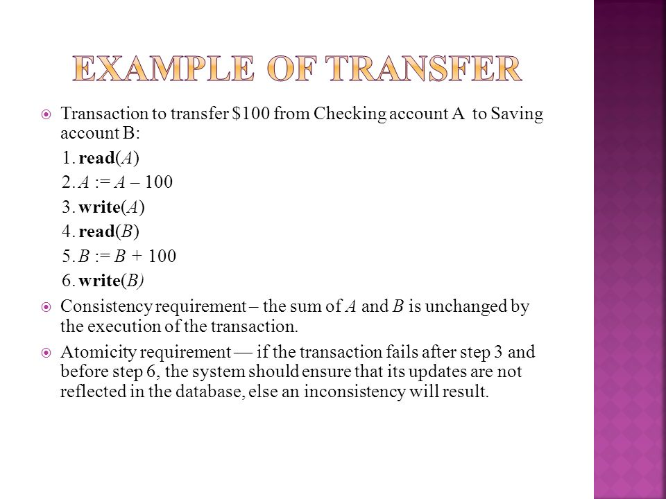 Example Of TransferTransaction to transfer $100 from Checking account A to Saving account B: 1. read(A)