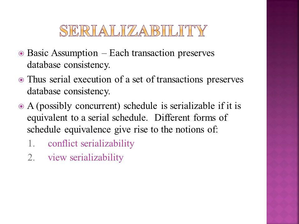 SerializabilityBasic Assumption – Each transaction preserves database consistency.