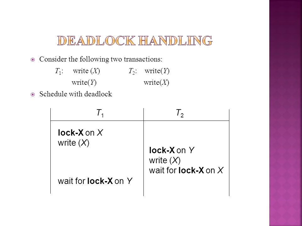 Deadlock Handling T1 T2 lock-X on X write (X) lock-X on Y write (X)
