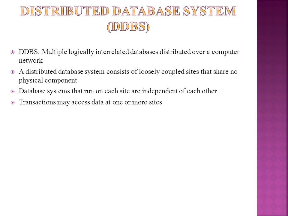 Distributed Database System (ddbs)