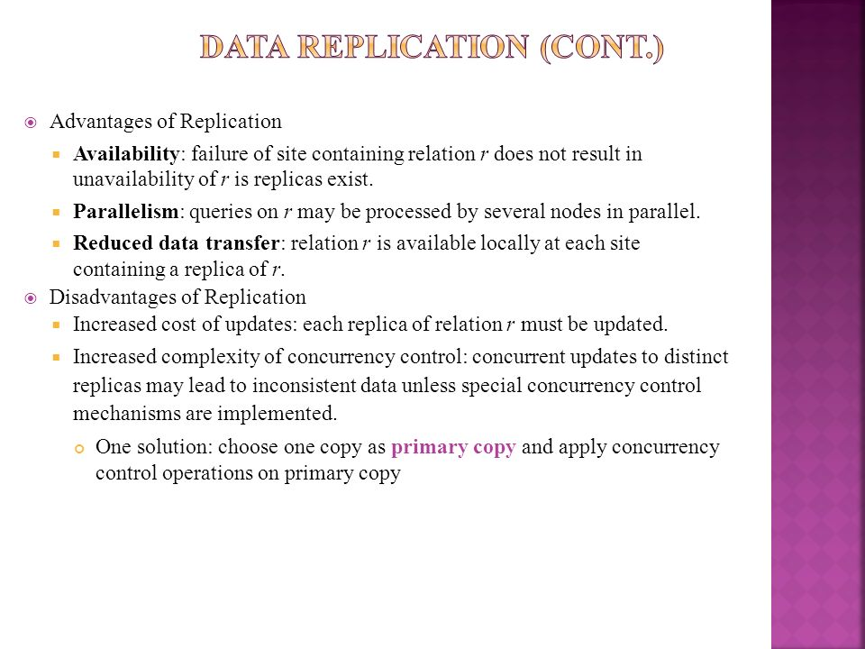 Data Replication (Cont.)