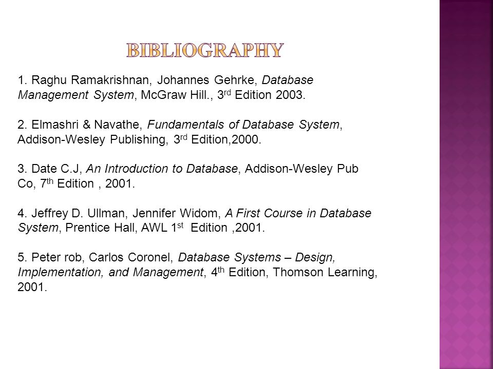 Bibliography 1. Raghu Ramakrishnan, Johannes Gehrke, Database Management System, McGraw Hill., 3rd Edition