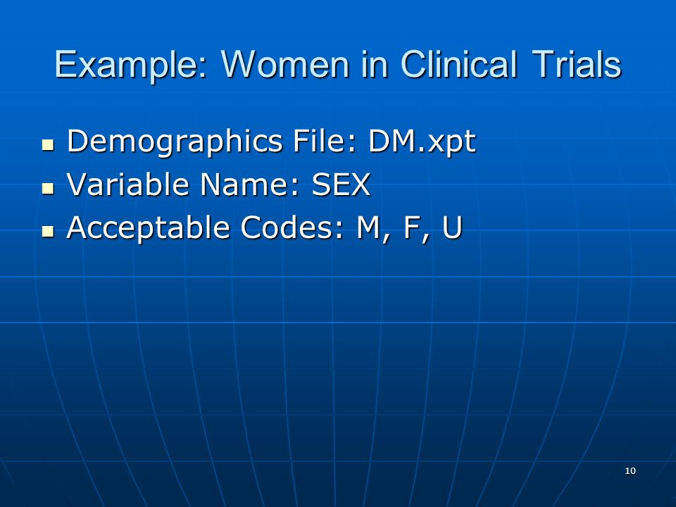 Example: Women in Clinical Trials