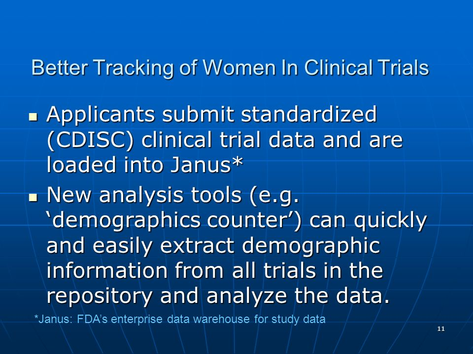 Better Tracking of Women In Clinical Trials