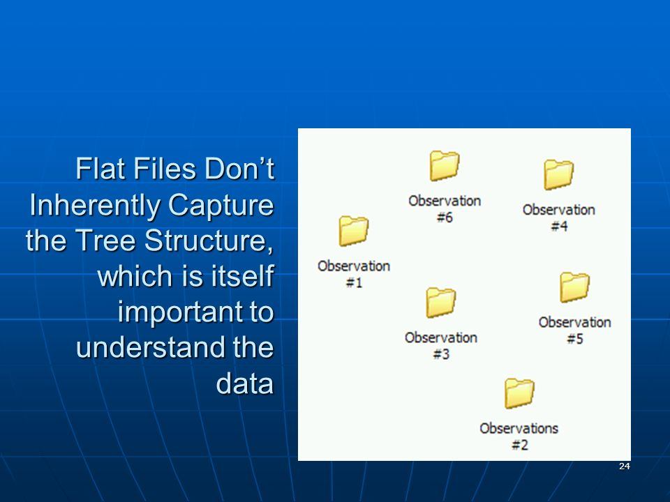 Flat Files Don't Inherently Capture the Tree Structure, which is itself important to understand the data