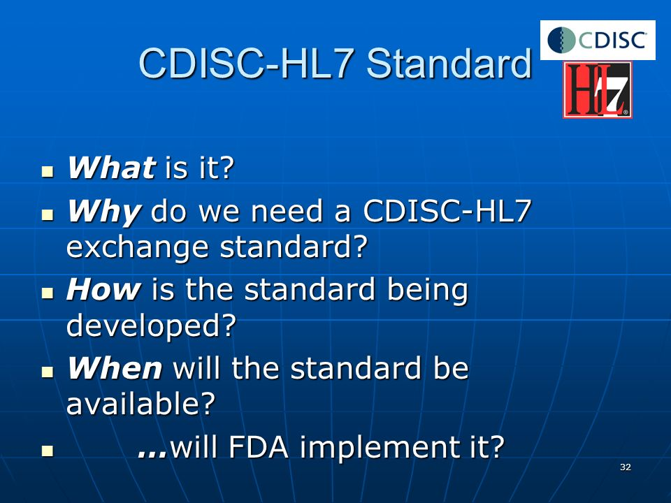 CDISC-HL7 Standard What is it