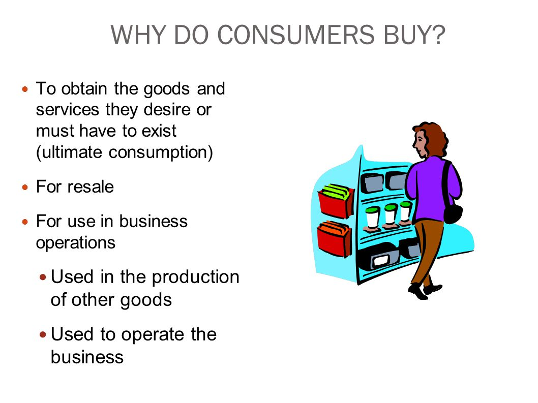 WHY DO CONSUMERS BUY Used in the production of other goods